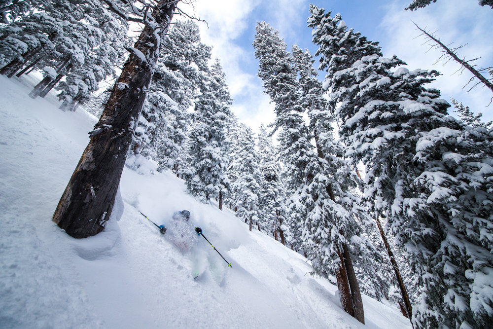 Sven Brunso finds the steep stashes in Taos. - © Liam Doran