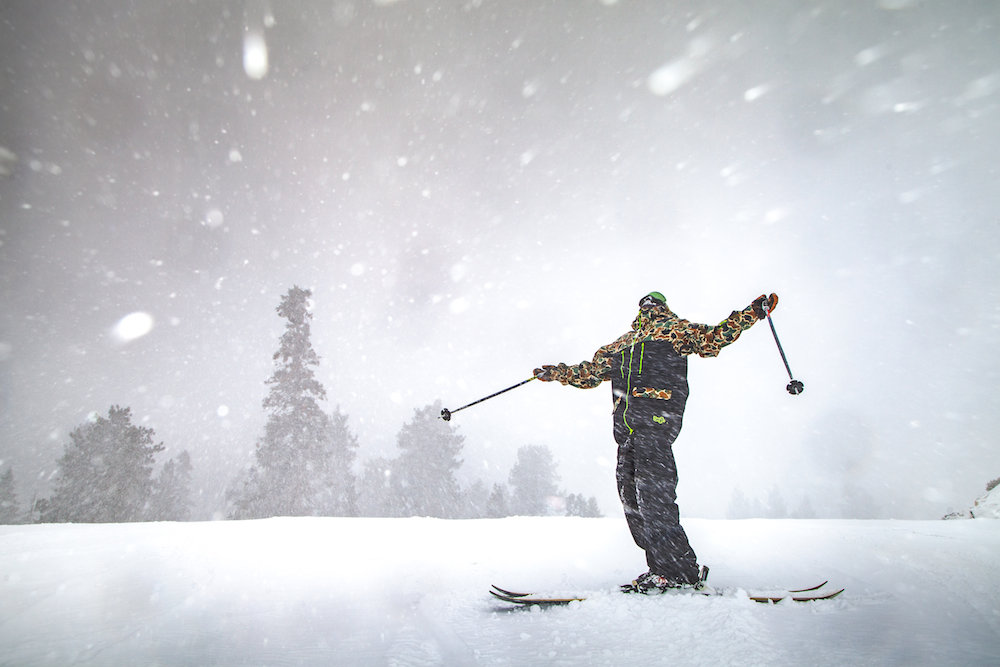 "Another monster storm out West has Bear Mountain skiers singing ""California Love."" - © BBMR"