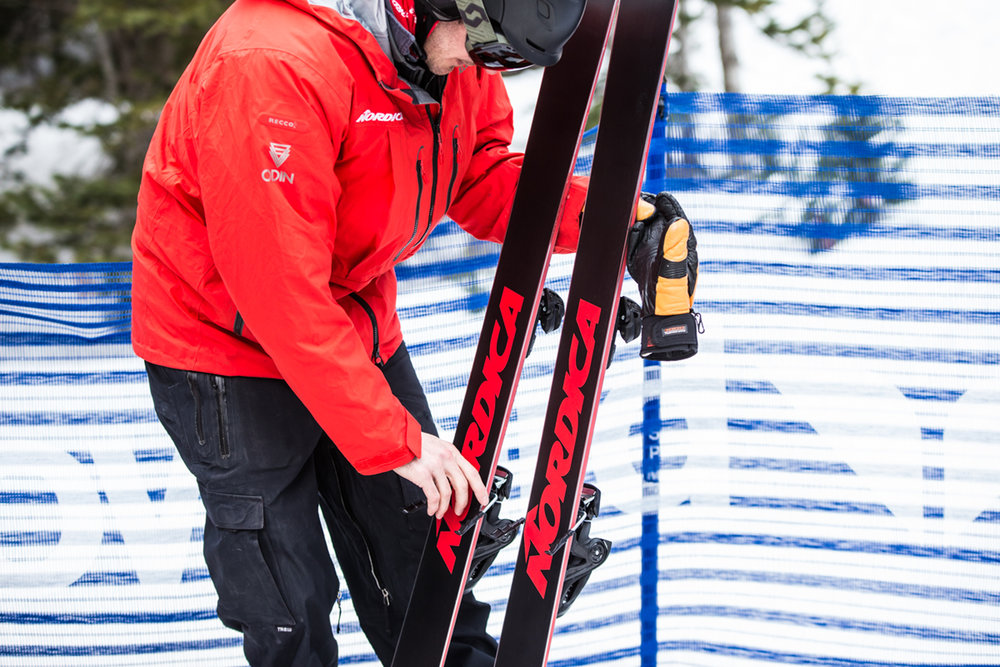 At Ski Test, manufacturers are on hand to be sure every ski is fresh tuned between runs. Thanks Sam! - © Liam Doran