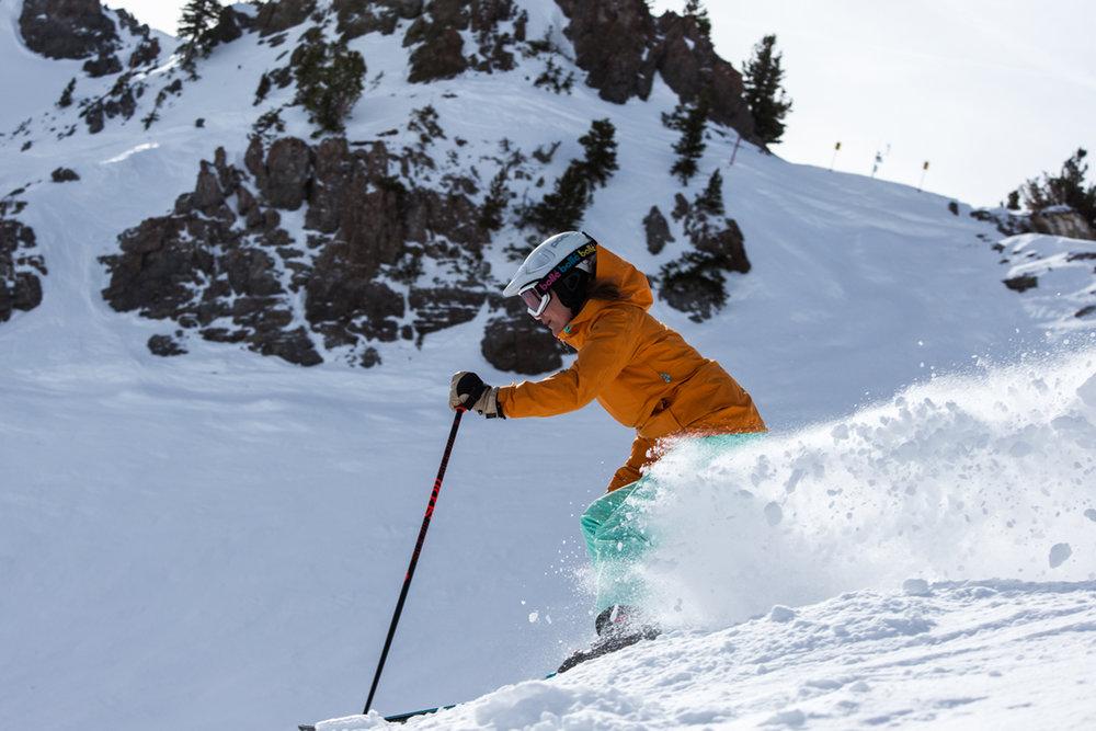 Krista Crabtree, Ski Test Director, finds the goods. - © Liam Doran