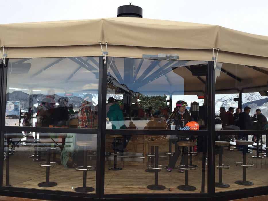 Crested Butte's new Euro-style Umbrella Bar has a 35-foot diameter retractable roof. - © Krista Crabtree