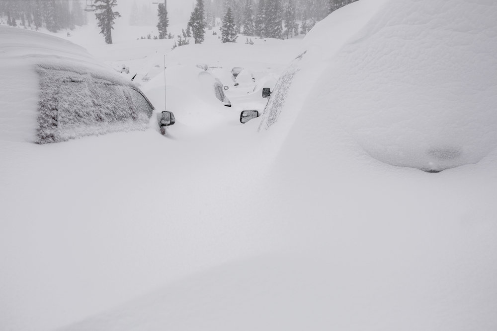 The latest parking sitch at Mammoth Mountain. Anyone seen my window scraper? - © Peter Morning