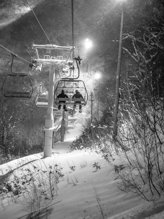 Nightskiing in a Niseko snowstorm is an incredible experience. - © Linda Guerrette
