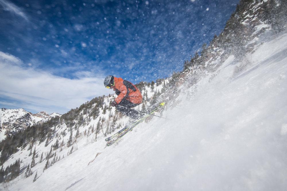 Spring ski spray. - © Liam Doran
