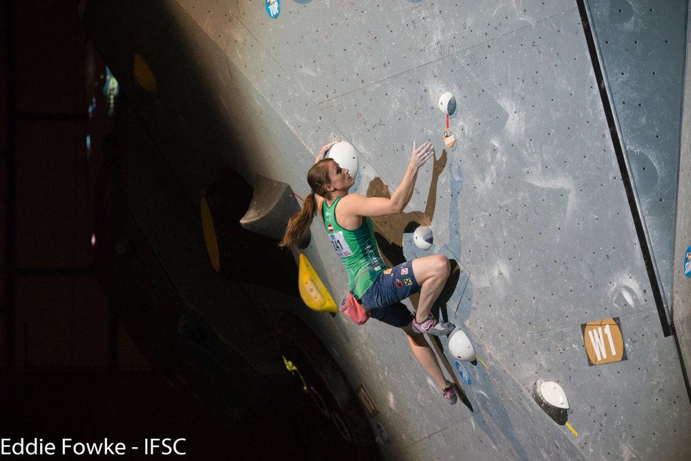 Anna Stöhr schaffte es bei ihrem Heimweltcup auf Rang 5 - ©IFSC | Eddie Fowke