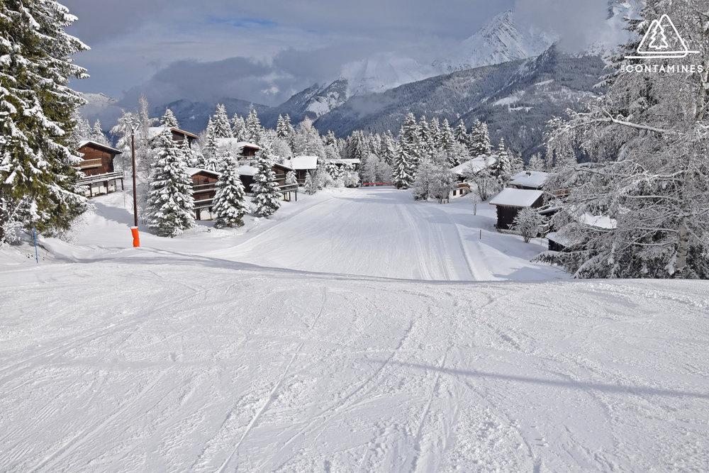 Sur les pistes de ski des Contamines (ici, la piste bleue du Village et son magnifique parcours qui passe entre les sapins et les chalets de l'Etape) - © Station de ski des Contamines Montjoie