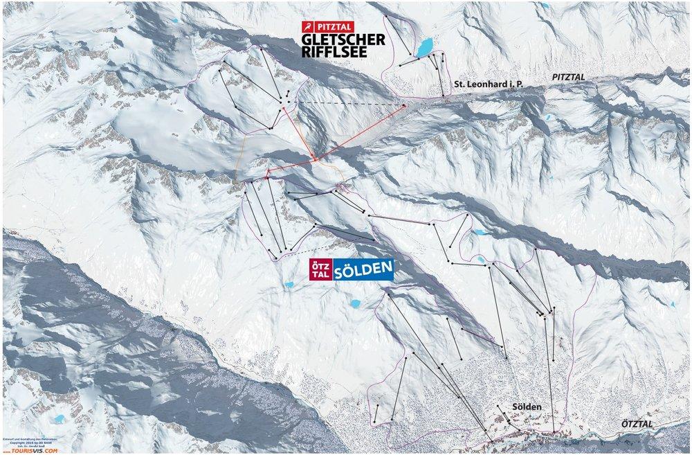 Der Zusammenschluss von Pitztaler Gletscher und Sölden würde beide Skigebiet aufwerten - © Tourisvis.com