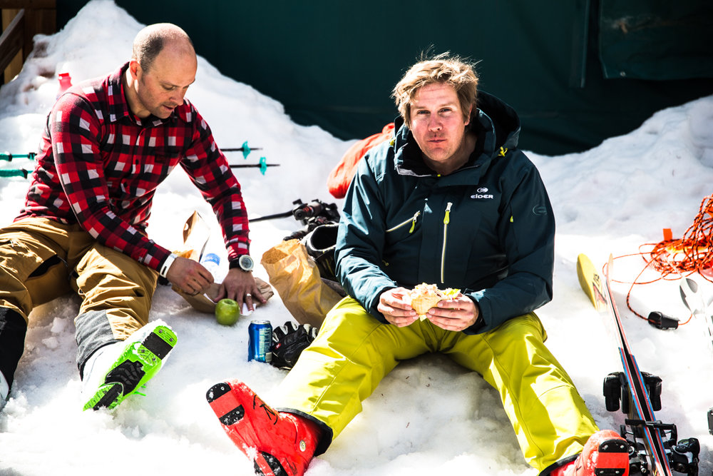 A rare sit-down break in the feverish pace that is OnTheSnow Ski Test. - © Liam Doran