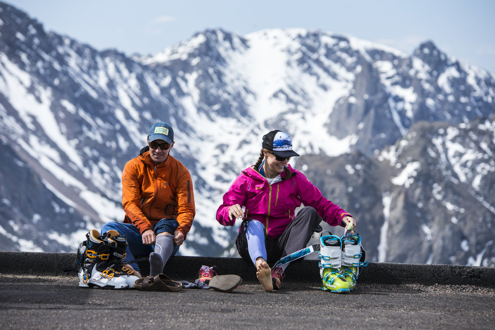 Summer skiing in Rocky Mountain National Park is as easy as driving up Trail Ridge Road and booting up.  - © Liam Doran