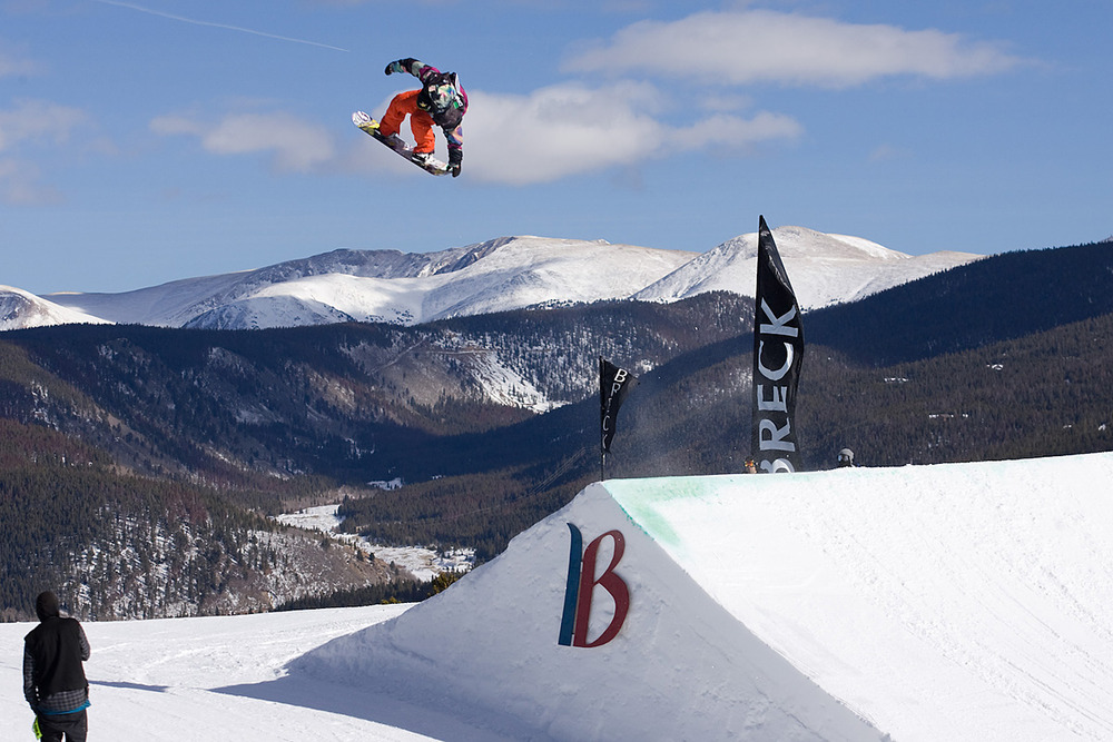 Tyler Flanagan snowboards over Breckenridge at the Mountain Dew Tour.