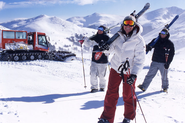 Snowcat and back country skiers at Copper, CO