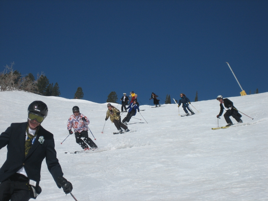 Ski testers at Snowbasin, UT on the last test day