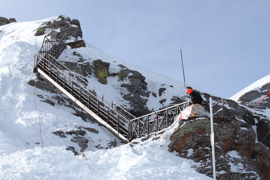 Gold Hill stairs under construction at Telluride, CO.