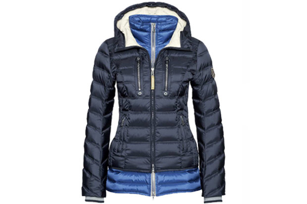 Bogner Sport Ski Down Ski Jacket Nuri: $1,590 Down ski jacket and detachable, contrasting inner vest in one, this statement maker will have you hitting the slopes and town in style. Detailed with a champagne-colored Swarovski crystals Logo and enough pockets to leave no necessities behind, this jacket isn't all style, packing highly waterproof/breathable technologies into its tailored silhouette.
