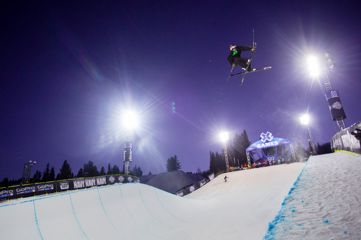Sending the Buttermilk half pipe at the Winter X-Games. - © Jeremy Swanson