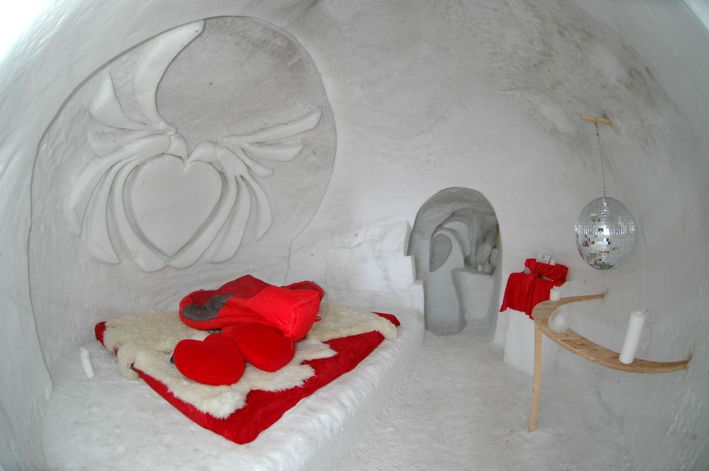 Interior of a Gstaad igloo.