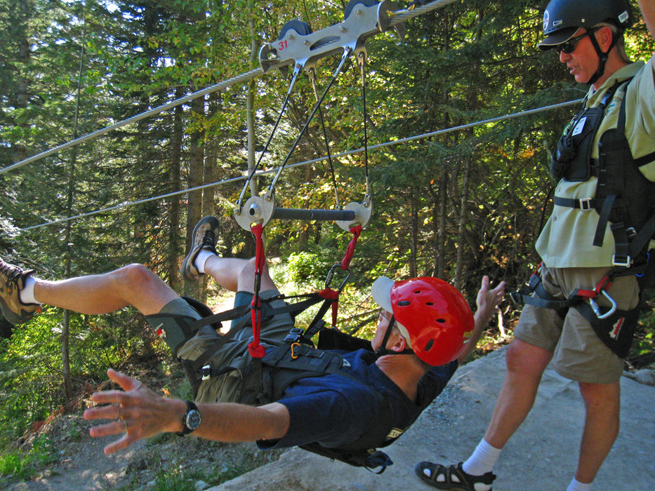 Visitor to Whitefish on a zipline