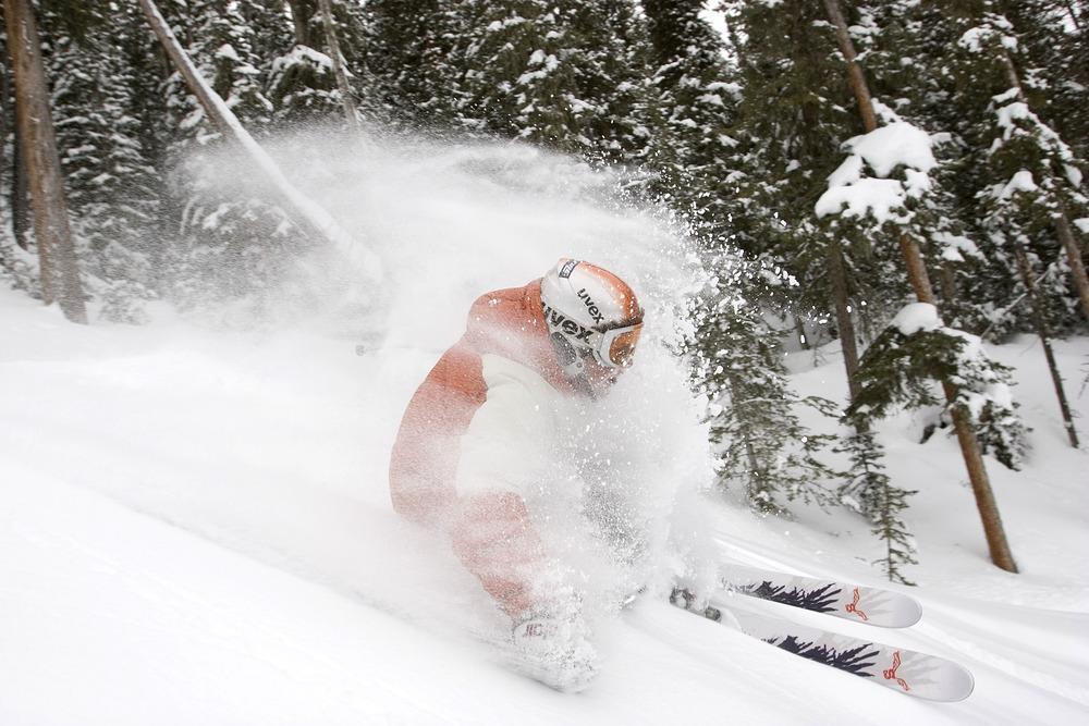 Powder skier at Angel Fire, NM. Photo by Jack Affleck.