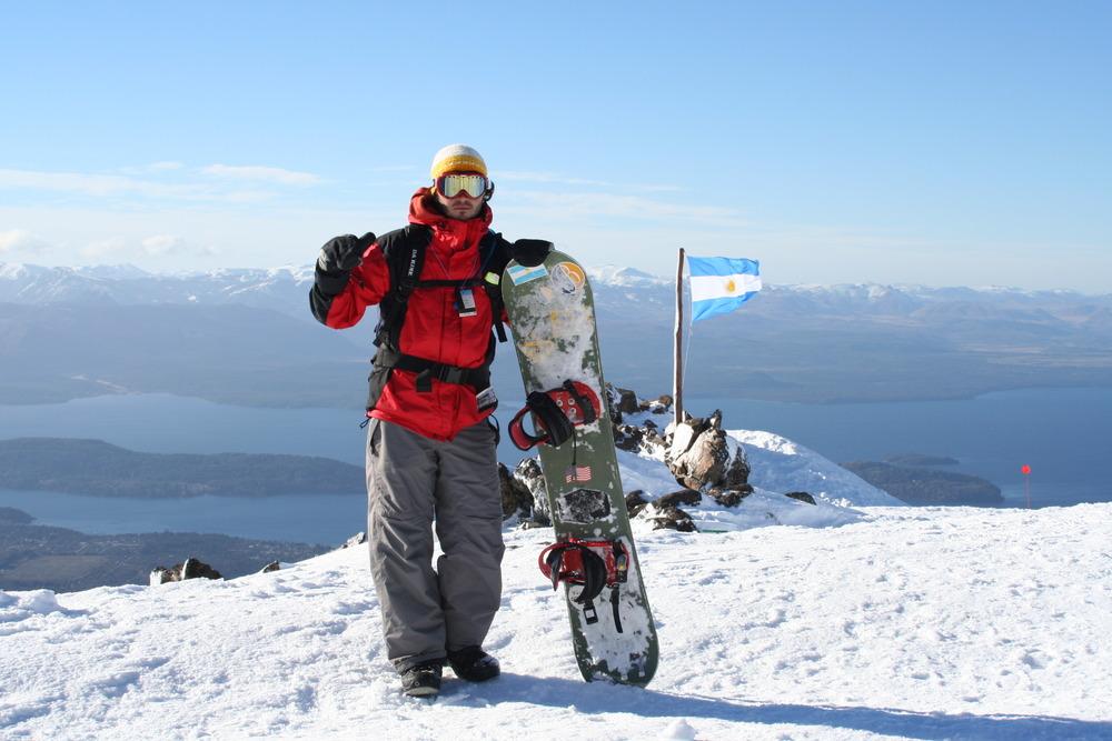 Snowboarder at Cerro Catedral, Argentina.