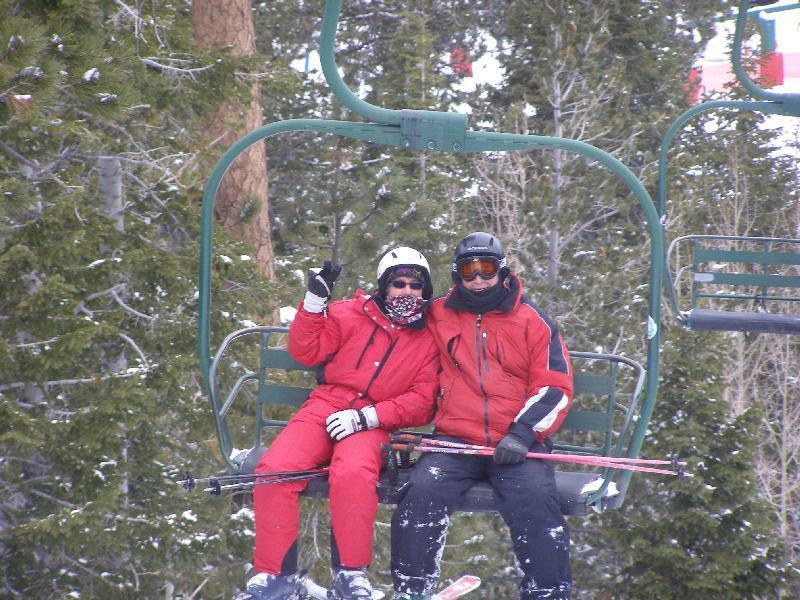 Pair of skiers on the lift at Las Vegas Ski & Snowboard Resort.
