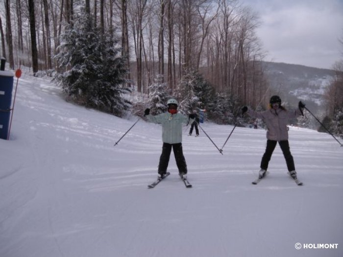 Skiers at Holimont, NY.