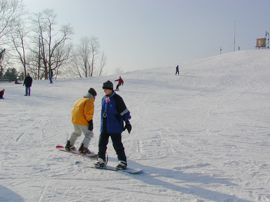 Snowboarding kids at Alpine Valley, Ohio.