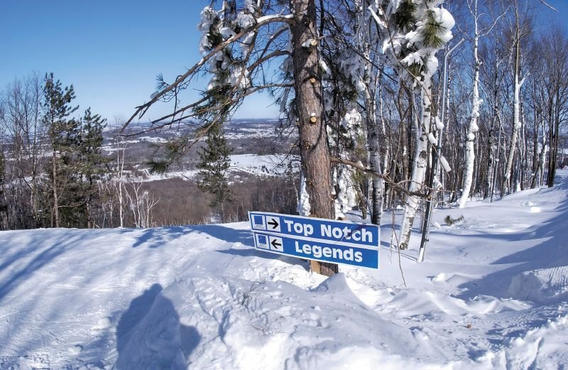 View of a sign at the top of Granite Peak, Wisconsin
