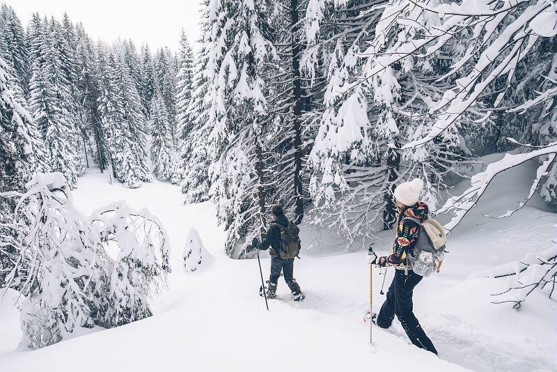 Chaussez vos raquettes à neige et partez vous aussi à l'aventure sur les nombreux itinéraires balisés des Montagnes du Jura... - © M.COQUARD et E.DETREZ Bestjobers  Bourgogne Franche Comte Tourisme