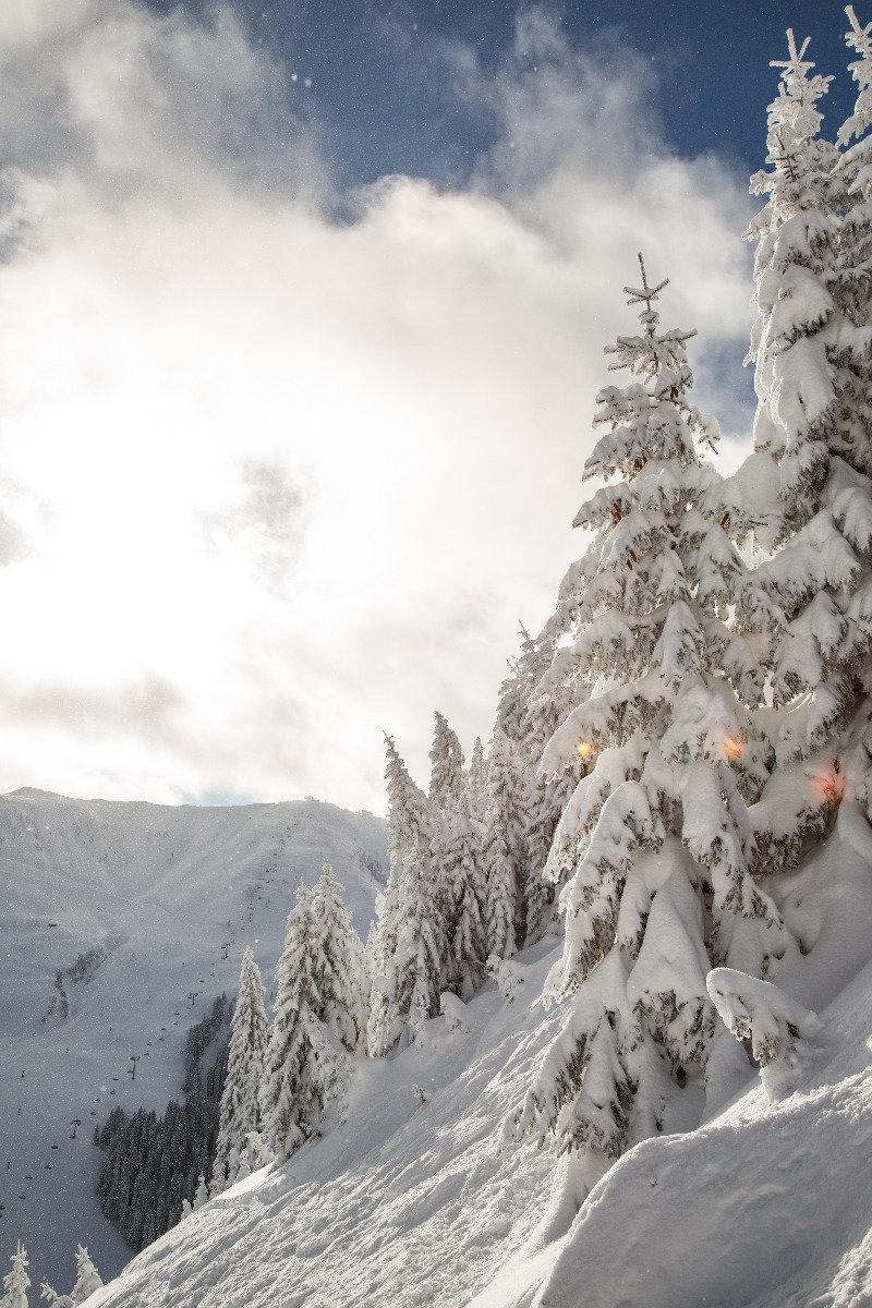 Neve fresca a Kitzbühel 13.1.19 - La seggiovia Steinbergkogel sullo sfondo - © Skiinfo