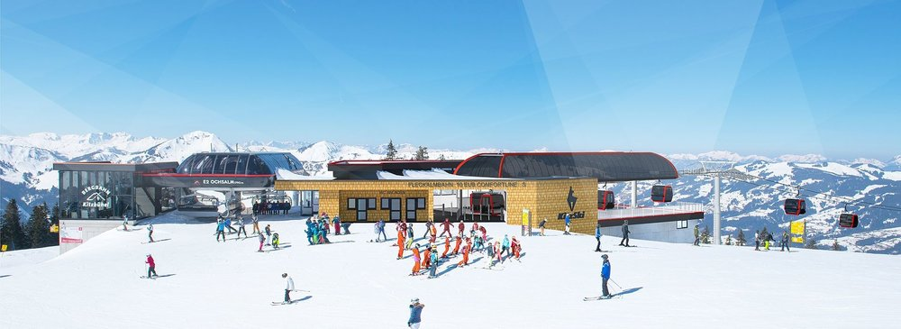 Výstupná stanica novej Fleckalmbahn v Kitzbüheli (vizualizácia) - © Bergbahn Kitzbühel AG