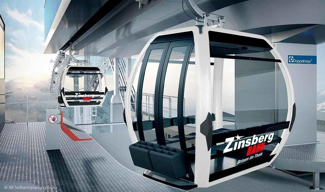 Vizualizácia novej lanovky Zinsbergbahn v Skiwelte Brixental - © AB Seilbahn Planungsbüro – Martin Aschaber