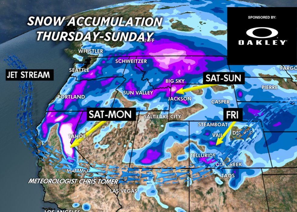 1-3 feet of snow for Tahoe and Mammoth by Monday. - © Meteorologist Chris Tomer