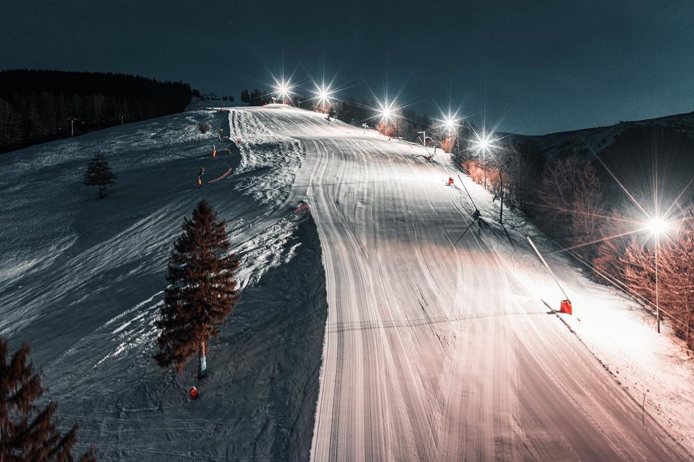 Night skiing in Vratna, Slovakia