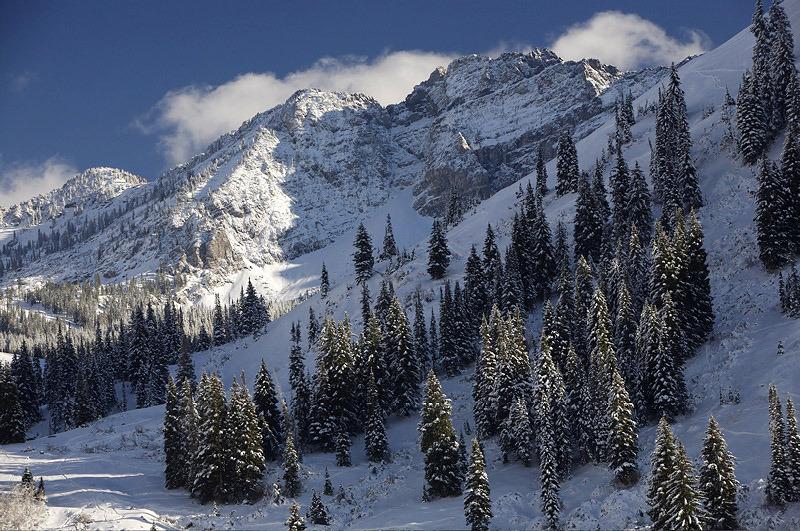 A view of Devil's Castle at Alta Ski Area, Utah