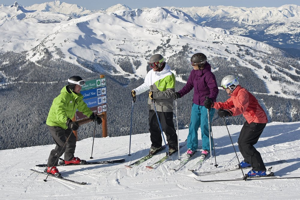 Group of skiers taking a ski lesson at Whistler Blackcombe (copyright: Paul Morrison)