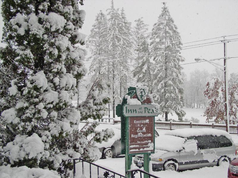 A view of the Inn at the Peak sign at Peek 'n Peak, New York
