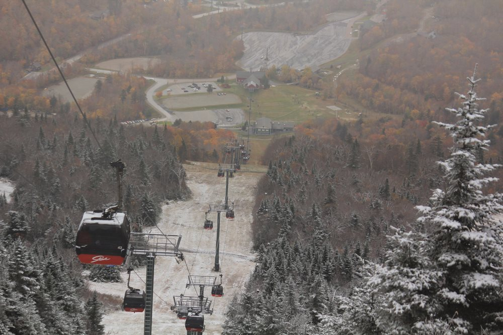 Snow on the Stowe gondola. - © Stowe Mountain Resort/Facebook