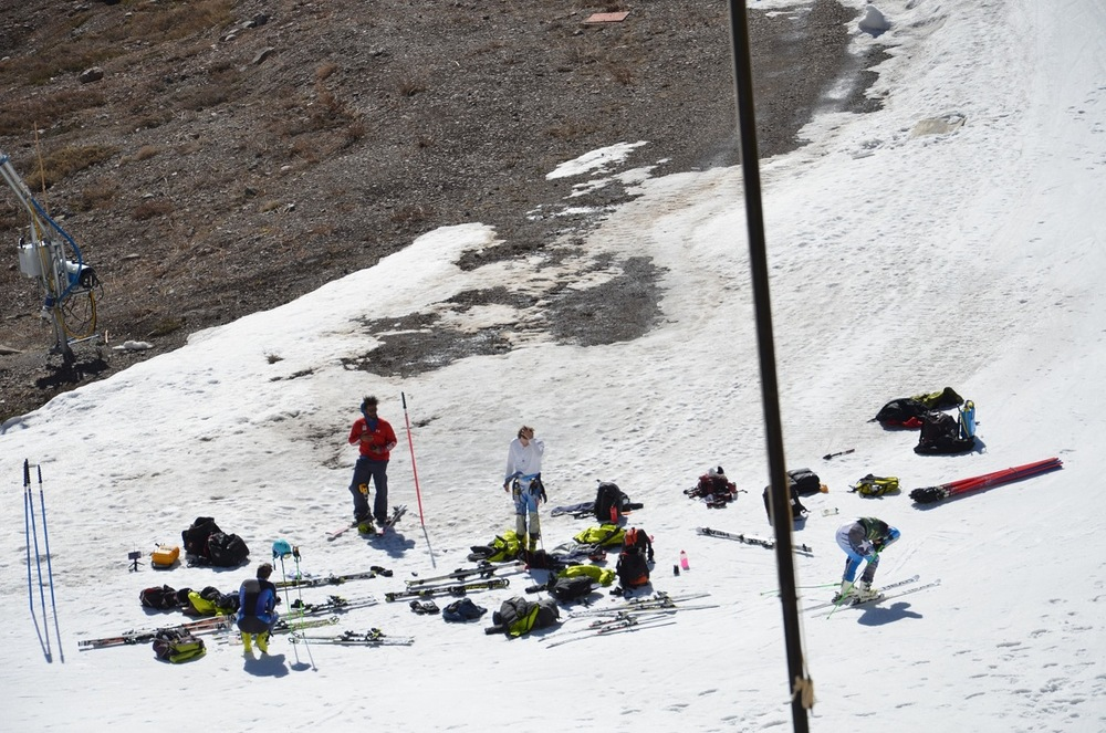 With not much snow left the team gets ready to take some turns - © Travis Ganong