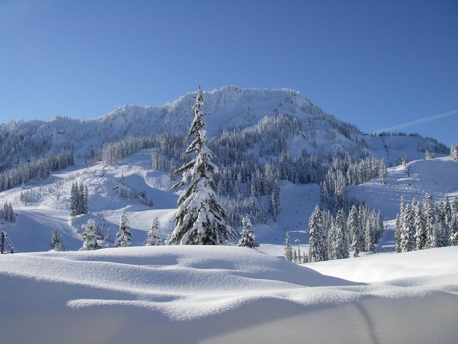 Stevens Pass on a fresh snowfall day. Photo courtesy of Stevens Pass Ski Area.