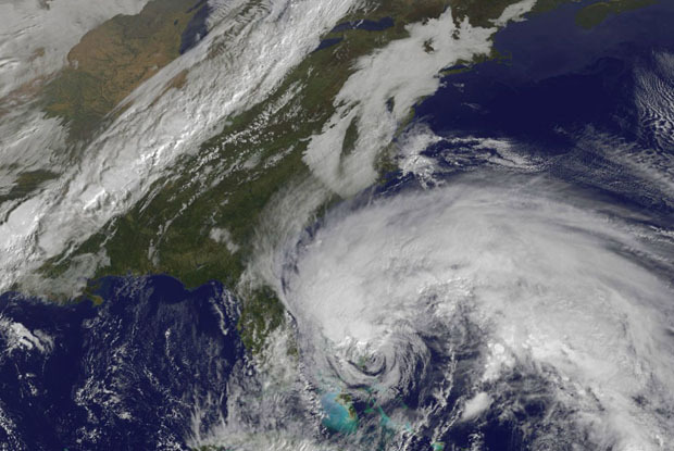 The confluence of Hurricane Sandy, arctic air from the north and a storm from the west could wreak havoc on Eastern ski resorts. - © NOAA