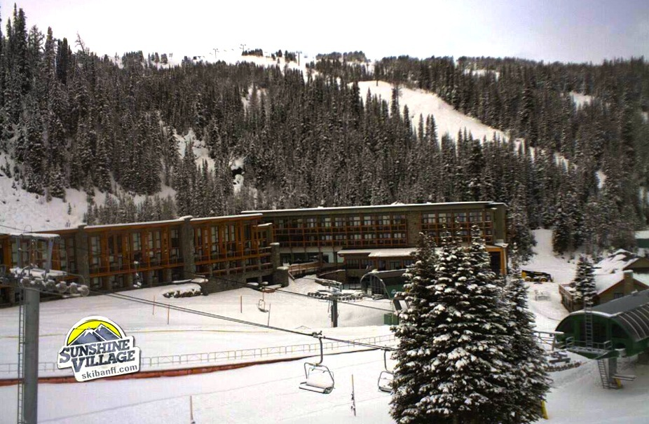 Snow amasses early season at Sunshine Mountain Lodge. Photo courtesy of Sunshine Village webcam.