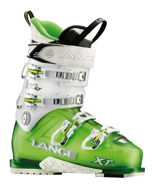 Lange XT 100 W LV Women's Ski Boot—Lange's latest women's freeride boot features their Power V-Lock technology. An insert in the lower shell locks with the pull of a tab for downhill mode and articulates backward for greater range of motion when hiking. Despite AT book characteristics, this boot is performance driven with a 97 mm last, 100 flex, a mono-injected shell and Control Fit Liner. $700 - © Lang Boots