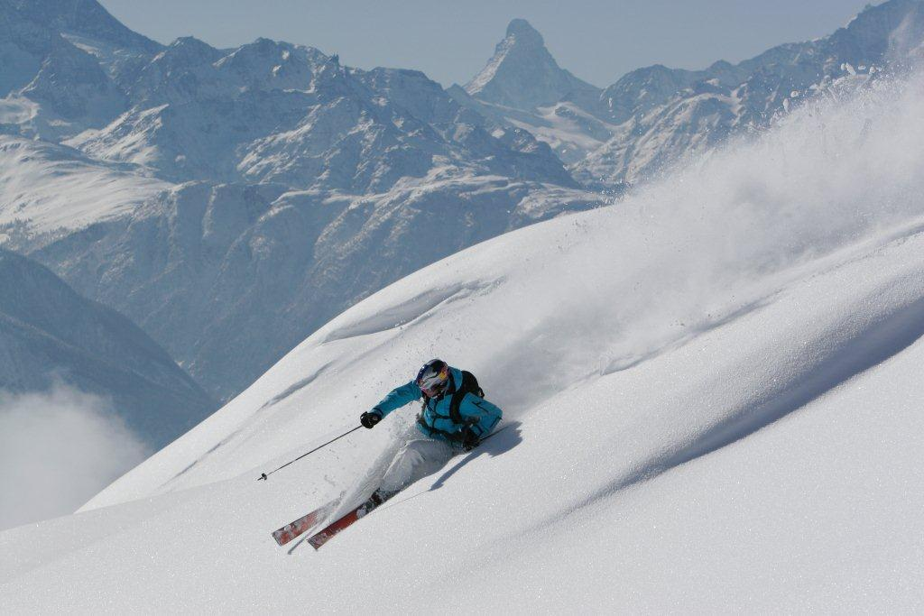 Bettermalp freeriding with the Matterhorn as a backdrop. - © Swiss-images.ch/Peter Mathis