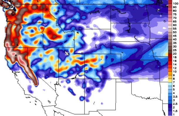 GFS model total snowfall forecasted by Monday in inches.