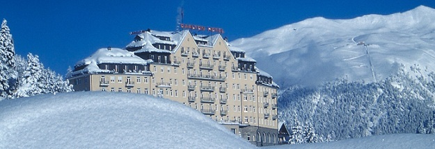 The luxurious Carlton Hotel. St Moritz in the snow