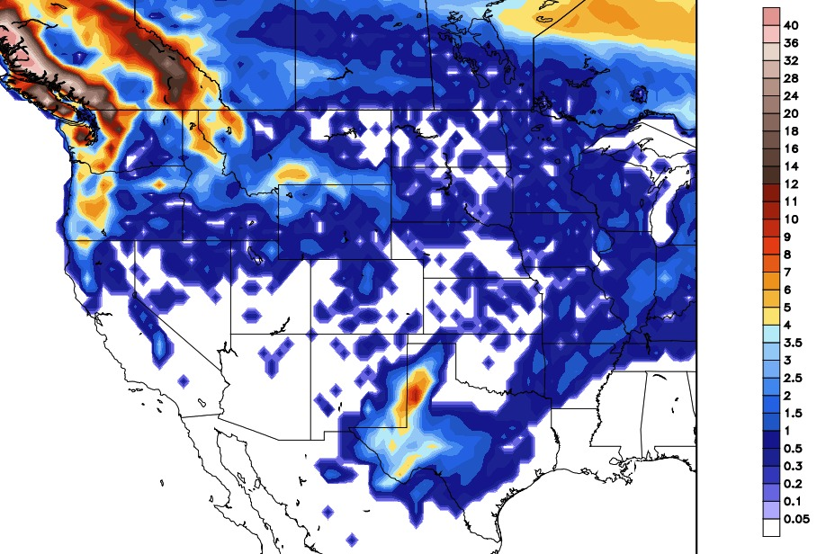 GFS Snow Forecast Model through Thursday 1/11. - © OpenSnow.com