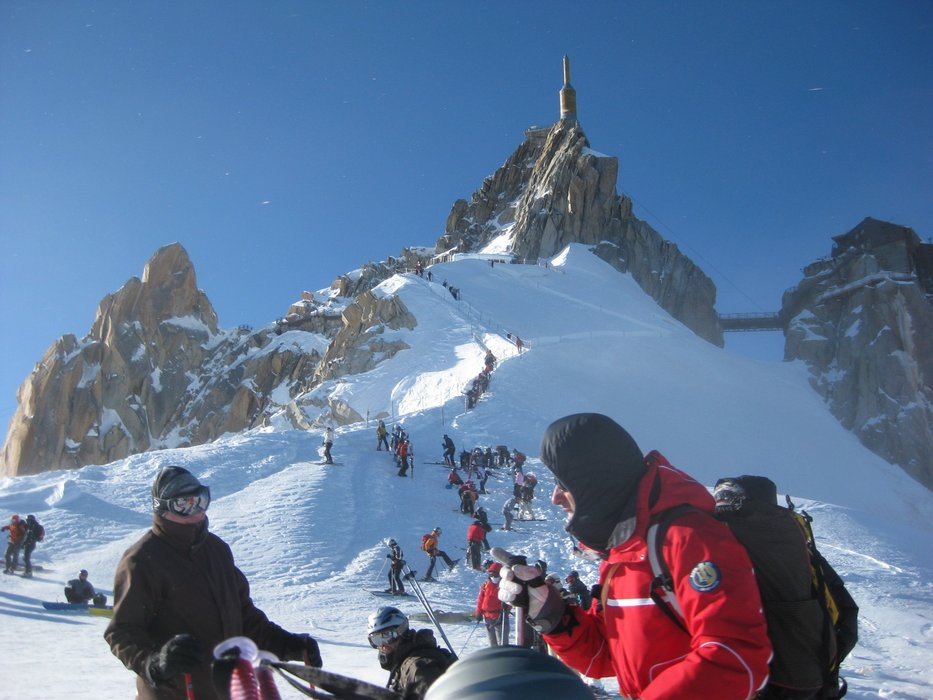 From Chamonix's top lift, it's an ear-popping, vertigo-inducing climb to the top of the Aiguille du Midi before skiing the Vallee Blanche - © Chamonix Tourist Office