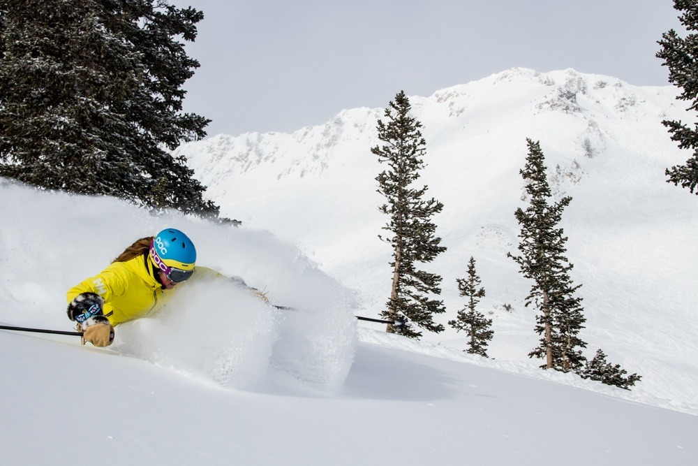 Kaylin Richardson enjoying fresh turns at Snowbird. - © Liam Doran