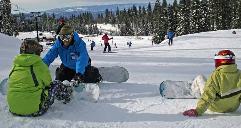 A snowboard lesson at Brundage. Photo courtesy of Brundage Mountain Resort.