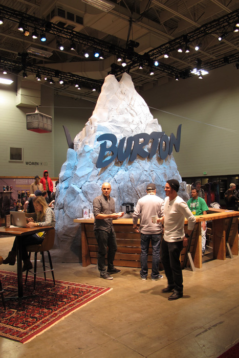 While most of us attending the show would've preferred to be on the mountain, Burton brought the mountain to Winter OR—complete with it's own mini tram to the peak. - © Dan Kasper